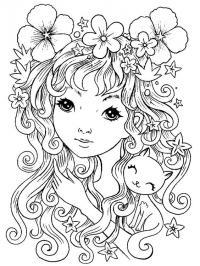 Девушка с длинными волосами и котенком Раскраски для взрослых скачать