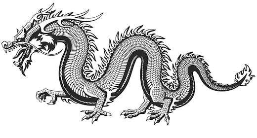 Китайский длинный извивающийся дракон идет по земле Раскраски для взрослых скачать