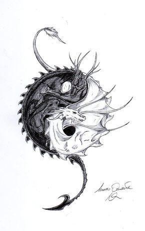 Дракон с инь и янь Картинки антистресс раскраски