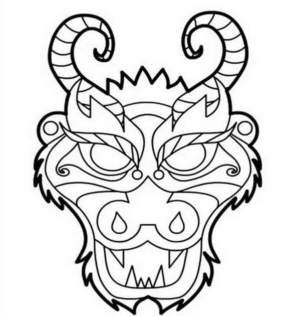 Маска злого дракона с рогами Картинки антистресс раскраски