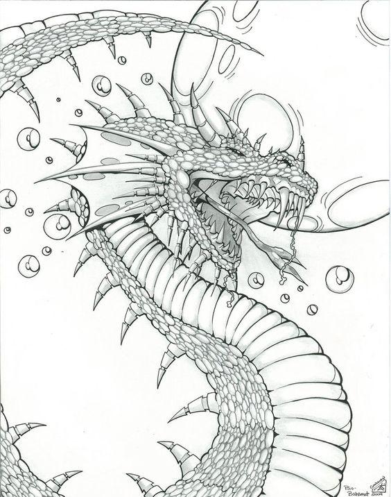 Голова зубастого дракона с длинным хвостом и шипами Картинки антистресс раскраски