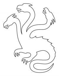 Контур трехголового дракона Раскраски для взрослых скачать