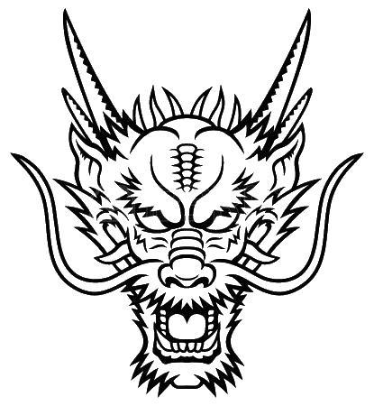 Голова злого дракона Раскраски для взрослых скачать