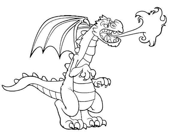 Огнедышащий дракон Картинки антистресс раскраски