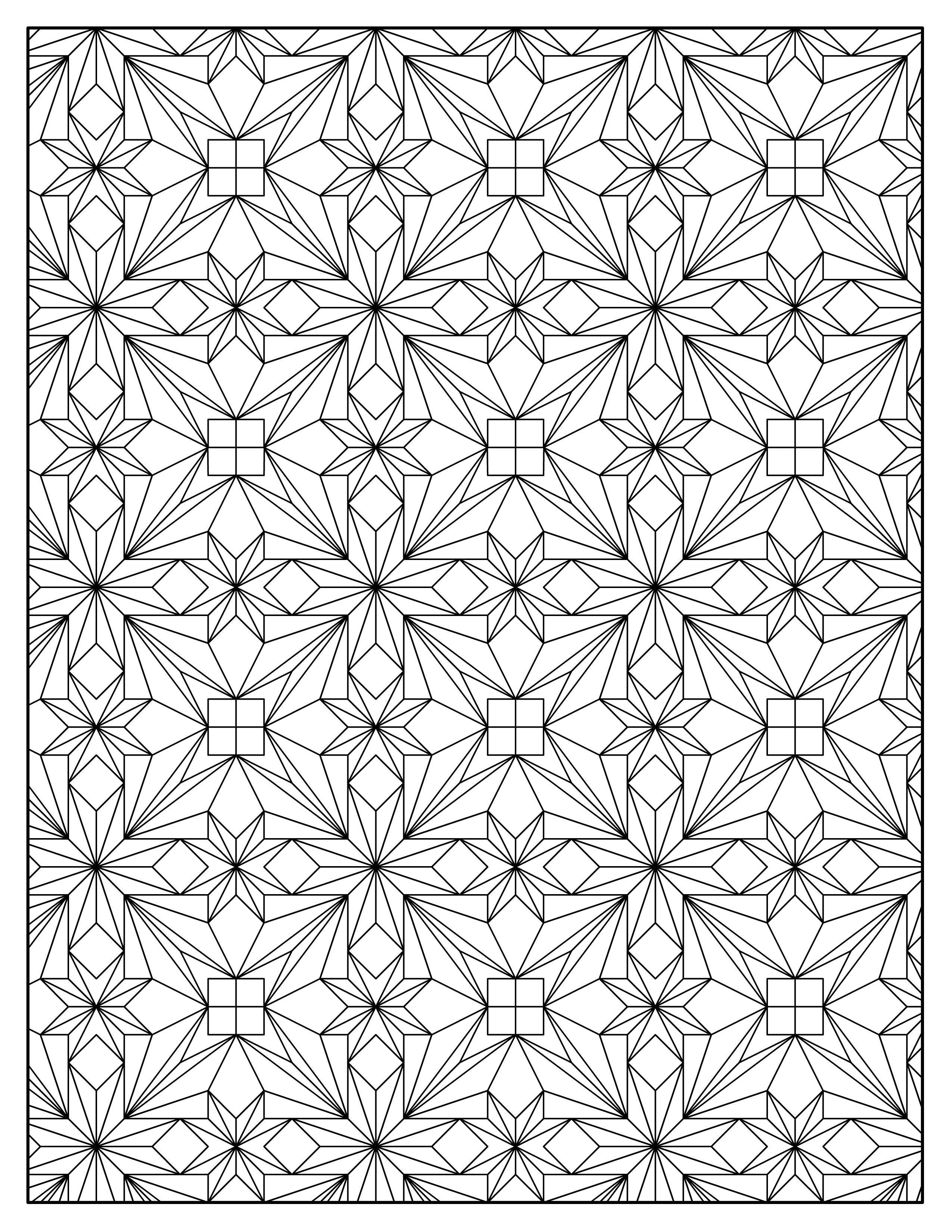 Повторяющиеся цветы и квадраты Скачать сложные раскраски