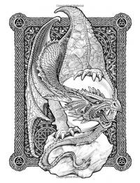 Кельтский дракон охраняющий яйцо Раскраски для взрослых скачать
