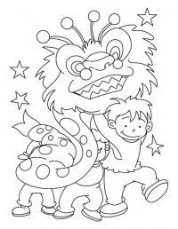 Китайский новый год. дети в костюме дракона Раскраски для взрослых скачать