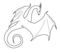 Контур дракона который летит Раскраски для взрослых скачать