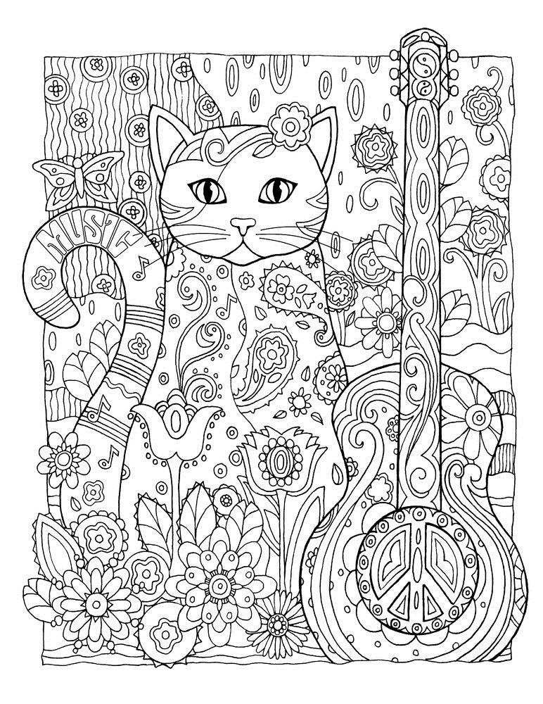 Кот и гитара в цветах Раскраски для взрослых скачать