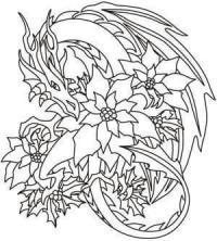 Дракон с цветами Раскраски для взрослых скачать