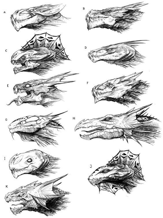 Учимся рисовать различные головы драконов Раскраски для взрослых скачать