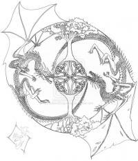 Кельтские драконы с крыльями дерутся Раскраски для взрослых скачать