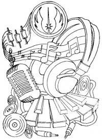 Раскраска для музыканта или диджея с микрофоном нотами наушниками и клавишами Раскраски антистресс а4