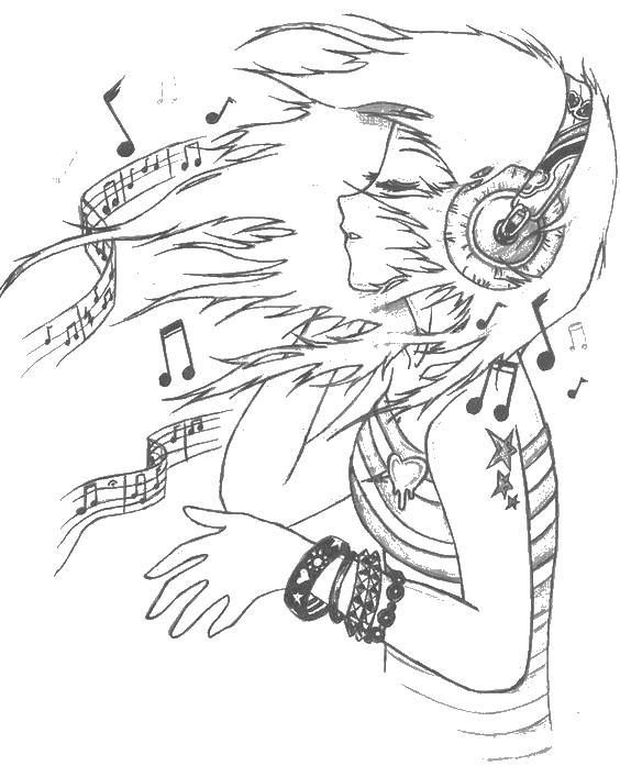 Девушка в потоке музыки Раскраски для взрослых скачать