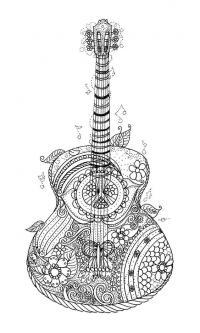 Гитара с узорами Раскраски для взрослых скачать