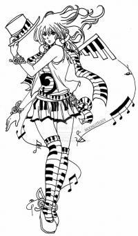 Музыкальная девочка Раскраски для взрослых скачать