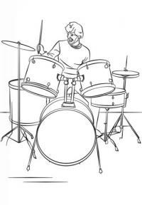 Ударная барабанная установка. барабанщик играет за инструментом Раскраски антистресс а4