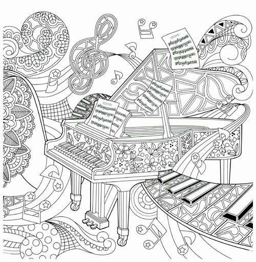 Рояль абстракция Раскраски для взрослых скачать