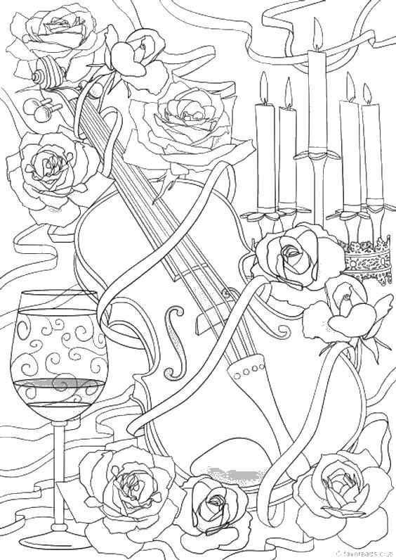Скрипка среди роз Раскраски для взрослых скачать