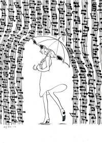 Девочка под дождем из нот Раскраски для взрослых скачать