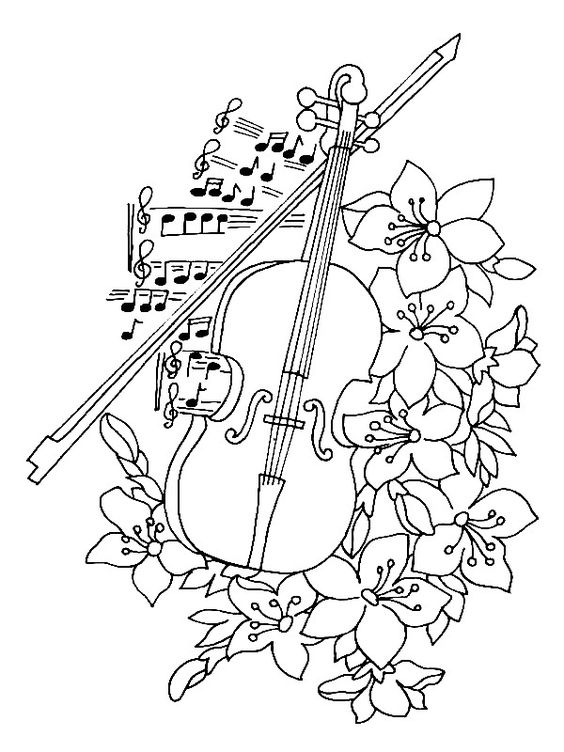 Скрипка и смычок среди цветов и нот Раскраски антистресс а4