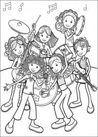 Музыкальная группа из девочек Раскраски для взрослых скачать