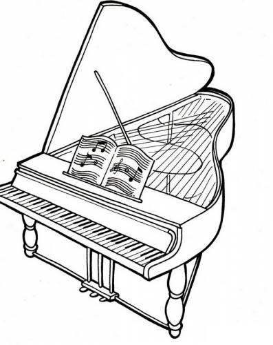Рояль Рояль с открытой крышкой и нотами Антистрессовые раскраскиАнтистресс онлайн