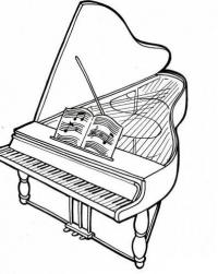 Рояль с открытой крышкой и нотами Раскраски антистресс а4