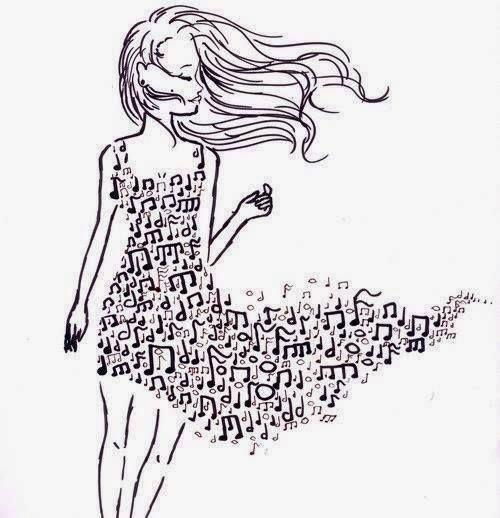 Девушка с платьем из нот Раскраски для взрослых скачать