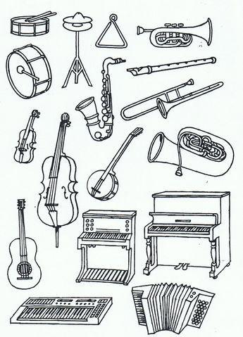 Музыкальные инструменты Раскраски для взрослых скачать