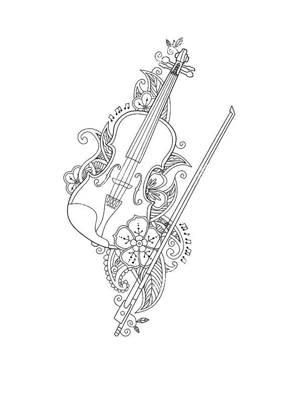 Скрипка со смычком Скачать сложные раскраски