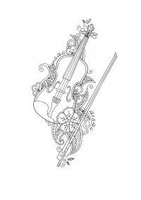 Скрипка со смычком Раскраски для взрослых скачать
