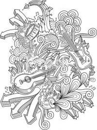 Абстракция из музыкальных инструментов Раскраски для взрослых скачать