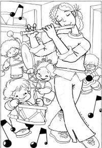Мама проводит музыкальный урок со своими детьми Раскраски для взрослых скачать