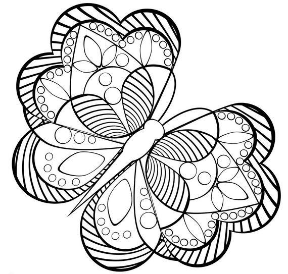 Бабочка с узорами Раскраски для медитации