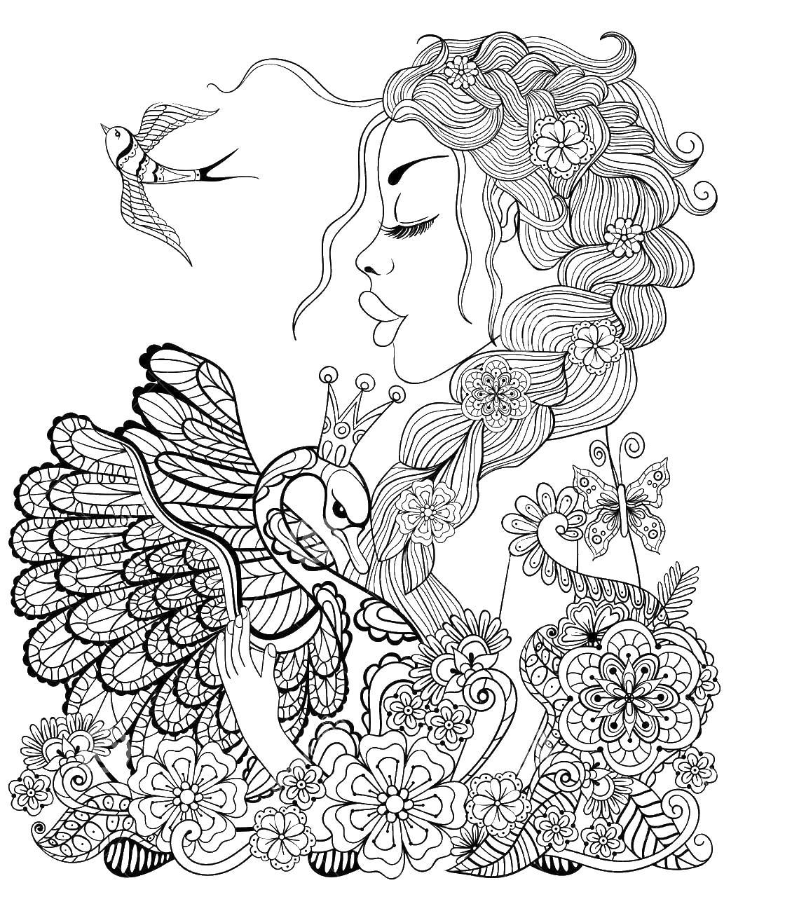 Лебедь девушка и птица Раскраски антистресс в хорошем качестве