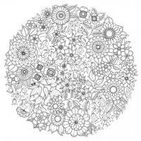 Круг с узором из цветов Раскраски для медитации