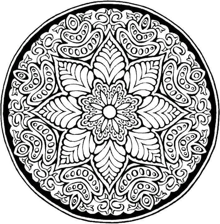 Цветок в круге Картинки антистресс раскраски