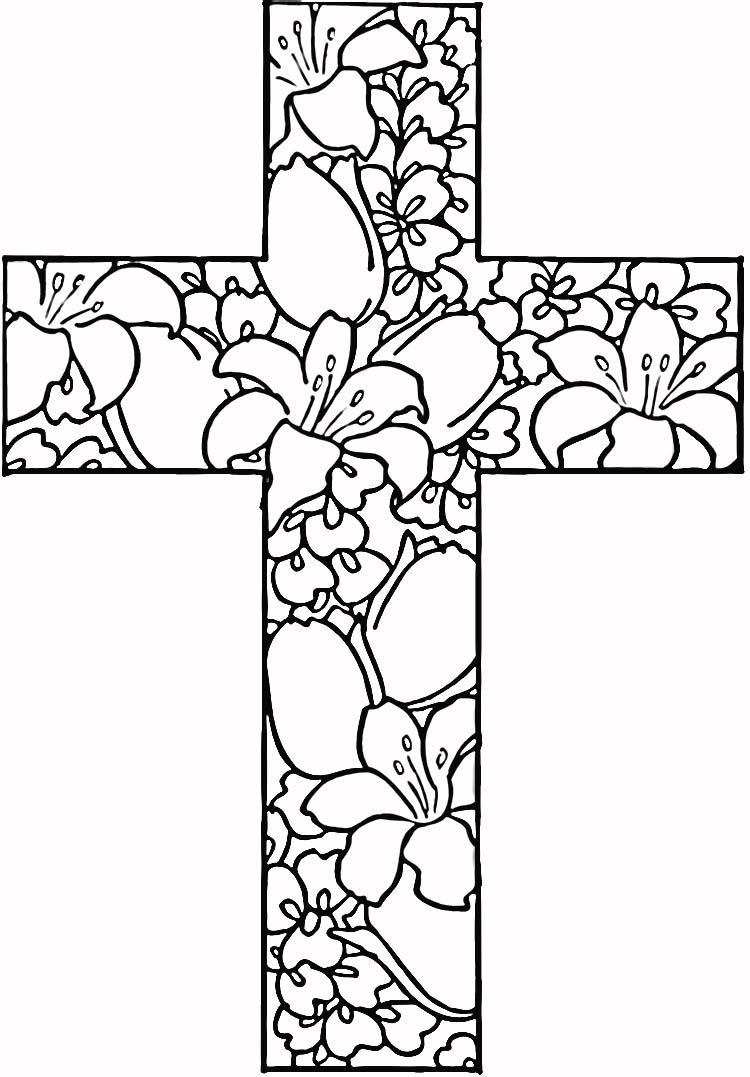 Крест в цветах Картинки антистресс раскраски