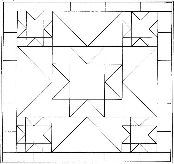 Простой узор из геометрических фигур Раскраски для медитации