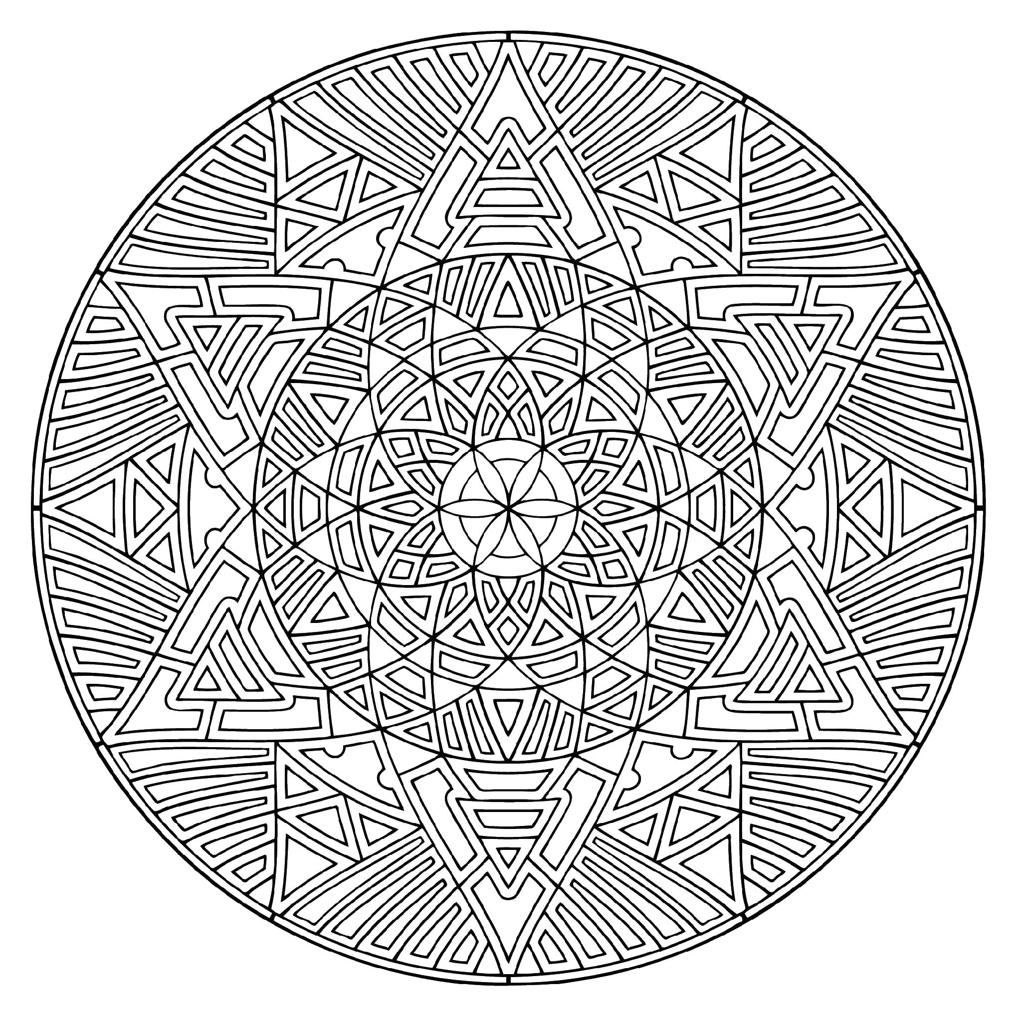 Большой сложный круглый узор Скачать сложные раскраски