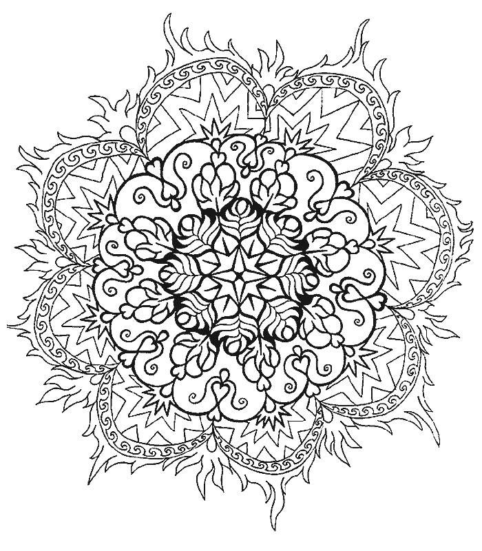 Огненный цветок Скачать сложные раскраски
