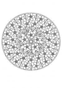Цветы по кругу Скачать сложные раскраски