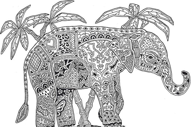 Слон Антистрессовые раскраски
