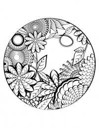 Мир в круге Скачать сложные раскраски