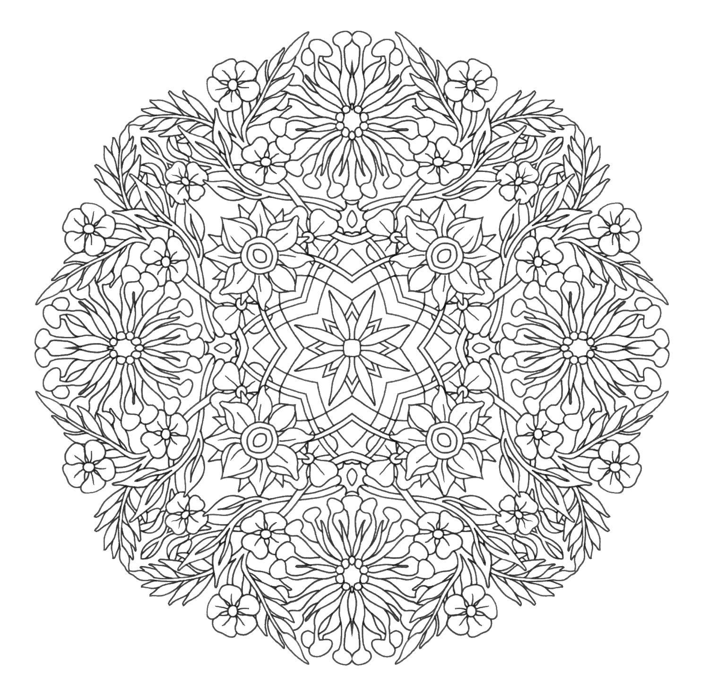 Узор цветы на ветках Скачать сложные раскраски