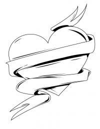 Сердце с лентой Раскраски антистресс бесплатно