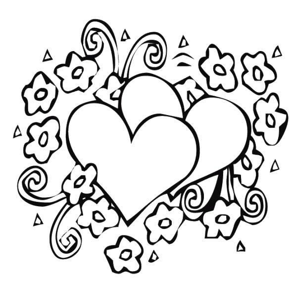 Два сердца в цветах Раскраски антистресс бесплатно