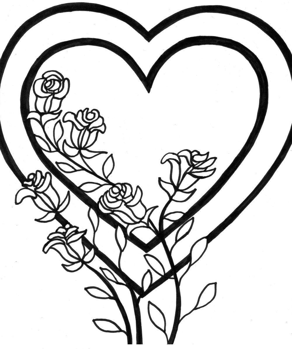 Роза в сердце Раскраски антистресс бесплатно