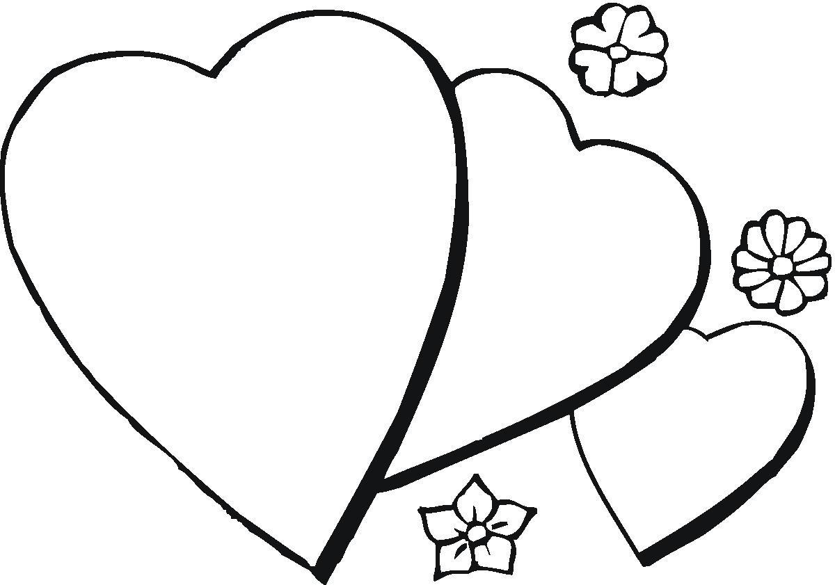 Три сердца и цветы Раскраски антистресс бесплатно